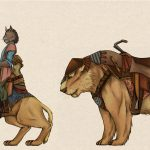 Concept art showing a Khajiit riding a Senche Khajiit, and accompanied by an armored Senche.